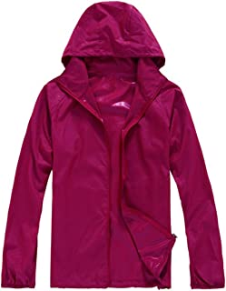 Lanbaosi Women's Lightweight Jacket Uv Protect+Quick Dry Windproof Skin Coat Large Rose Red