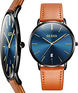 Thin Mens Watches,Men's Watch Fashion Classic Wrist Watches, Mens Leather Watch for Men,Simple Men Business Watch with Date,Waterproof Quartz Casual Watch