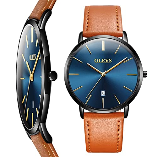 OLEVS Top Brand Men's Leather Watch,Fashion Classic Waterproof Thin Watches,Japanese Quartz Minimalist Casual Watch Man Simple Dress Wrist Watch with Date,Black/Brown/Yellow Leather