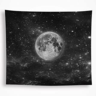 VAKADO Galaxy Moon Space Tapestry Wall Hanging Black Trippy Starry Night Sky Stars Universe Planet Bohemian Blanket for Dorm Living Room Home Decor 59