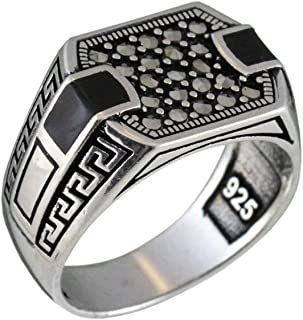 Solid 925 Sterling Silver Onyx & Marcasite Luxury Turkish Handmade Men's Ring