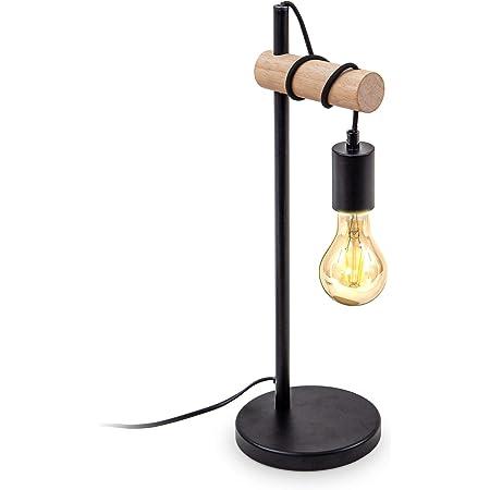 B.K.Licht lampe de table, design rétro industriel, bois & métal, éclairage salon & chamber, lampe de chevet, douille E27, pour ampoule LED 10W max, noir