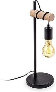B.K.Licht I Lámpara de mesa I 1 lámpara de mesa de llama vintage I Diseño industrial I lámpara retro I acero I madera I re...