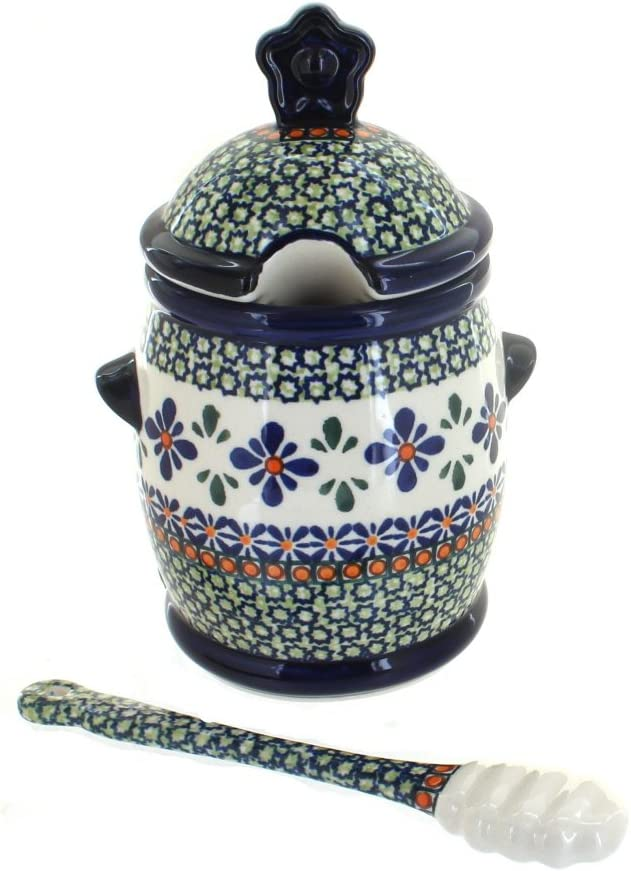 Blue Rose Polish Pottery Mosaic Dipper Pot store Flower All items free shipping and Honey