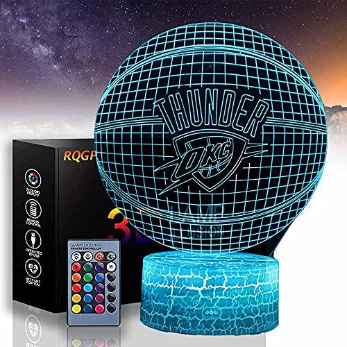 Baloncesto C 3D ilusión lámpara noche luz óptica mesita noche luces iluminando lámpara niños 16 color cambiante botón táctil USB cable decoración lámparas de escritorio