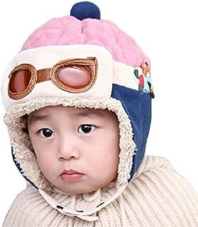 Gorra de invierno unisex para niños, de WITERY, gorra cálido, diseño de piloto de aviones [Warm Hats]Pink Talla única