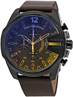 Diesel Men's Mega Chief Brown Leather Watch DZ4401