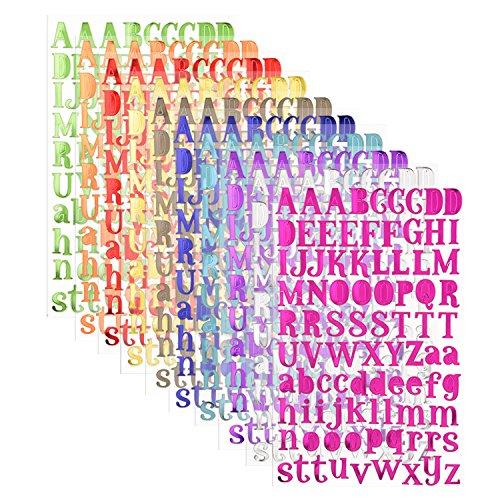 sunmns Colorful Glitter Buchstaben Alphabet Aufkleber, selbstklebend, Buchstaben, 10Blatt