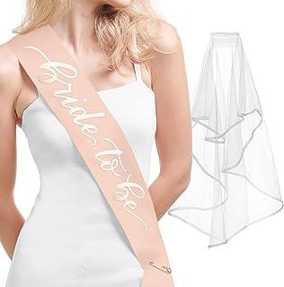xo, Fetti Bachelorette Party Rose Gold Sash + Veil - Bride to Be | Bachelorette Party Decorations Kit - Sash for Bride | B...