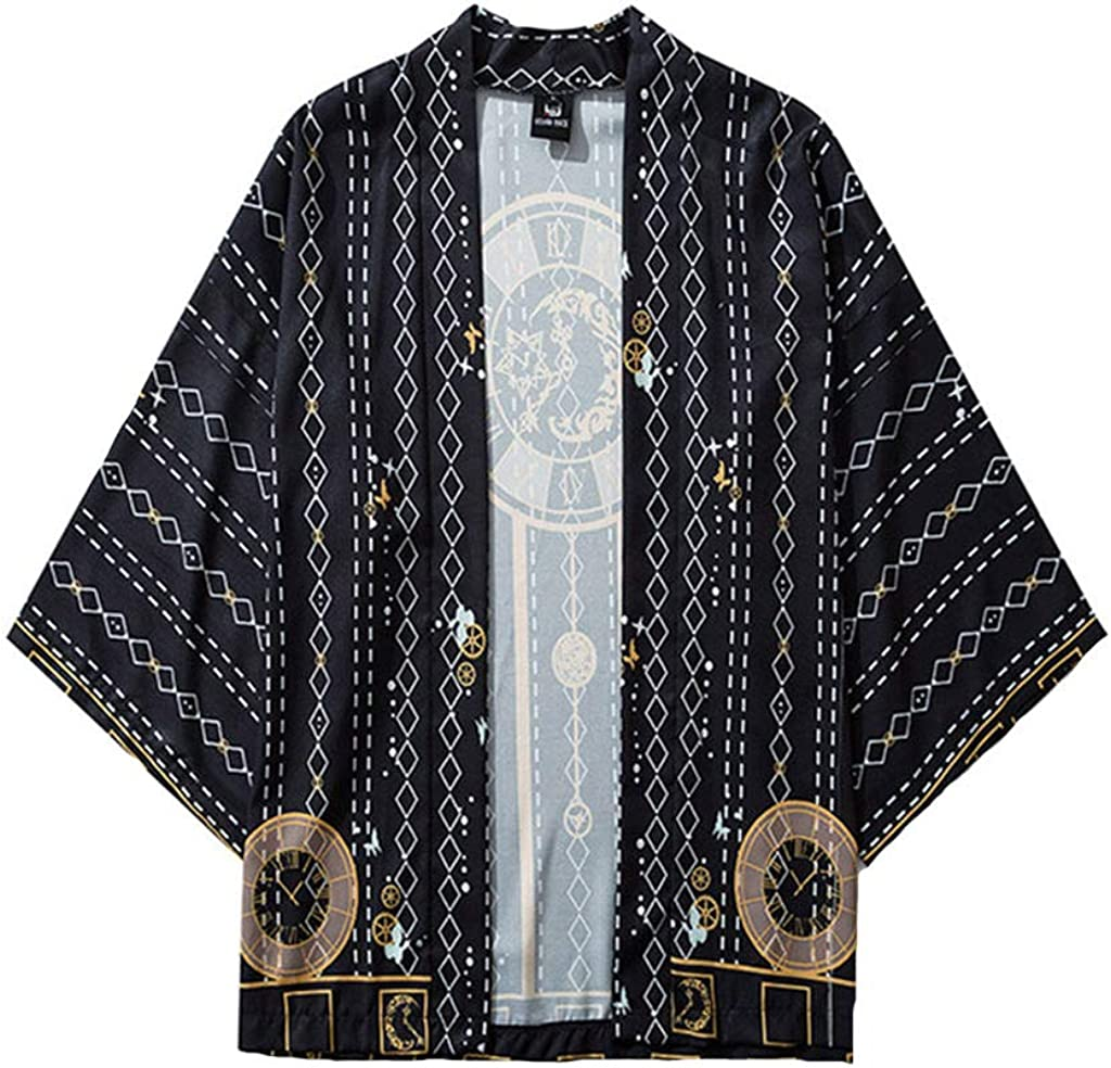Mens Kimono Cardigan, F_Gotal Men's Retro Kimono Shawl Collar Cardigan Long Kimono Jackets Open Front Drape Cape Coat