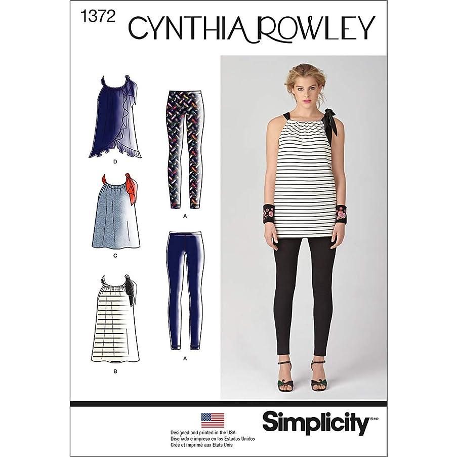 Simplicity Cynthia Rowley Pattern 1372 Misses Mini-Dress, Top, Tunic, Knit Leggings, Sizes 14-16-18-20-22