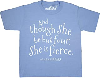 inktastic She is Fierce 4th Birthday Shakespeare Youth T-Shirt
