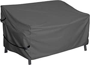 Porch Shield Patio 3-Seater Sofa Cover – Waterproof Outdoor Couch Deep Lounge Seat Sofa Covers 86W x 38D x 35H inch, Black