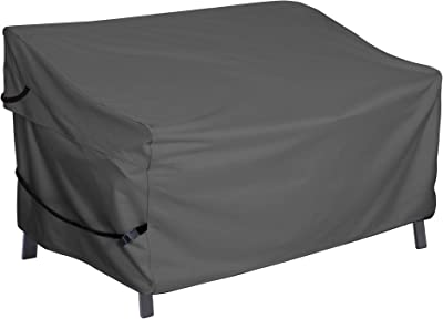 Porch Shield Patio 3-Seater Loveseat Sofa Cover – Waterproof Outdoor Bench Deep Lounge Seat Sofa Covers 86W x 38D x 35H inch, Black