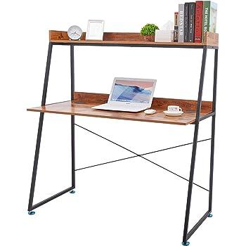 DESIGNA Escritorio de Escalera de Doble Panel para Ordenador portátil Mesa de Estudio Escritorio de Escritura estación de Trabajo con estantería para el hogar Oficina Color Roble: Amazon.es: Hogar