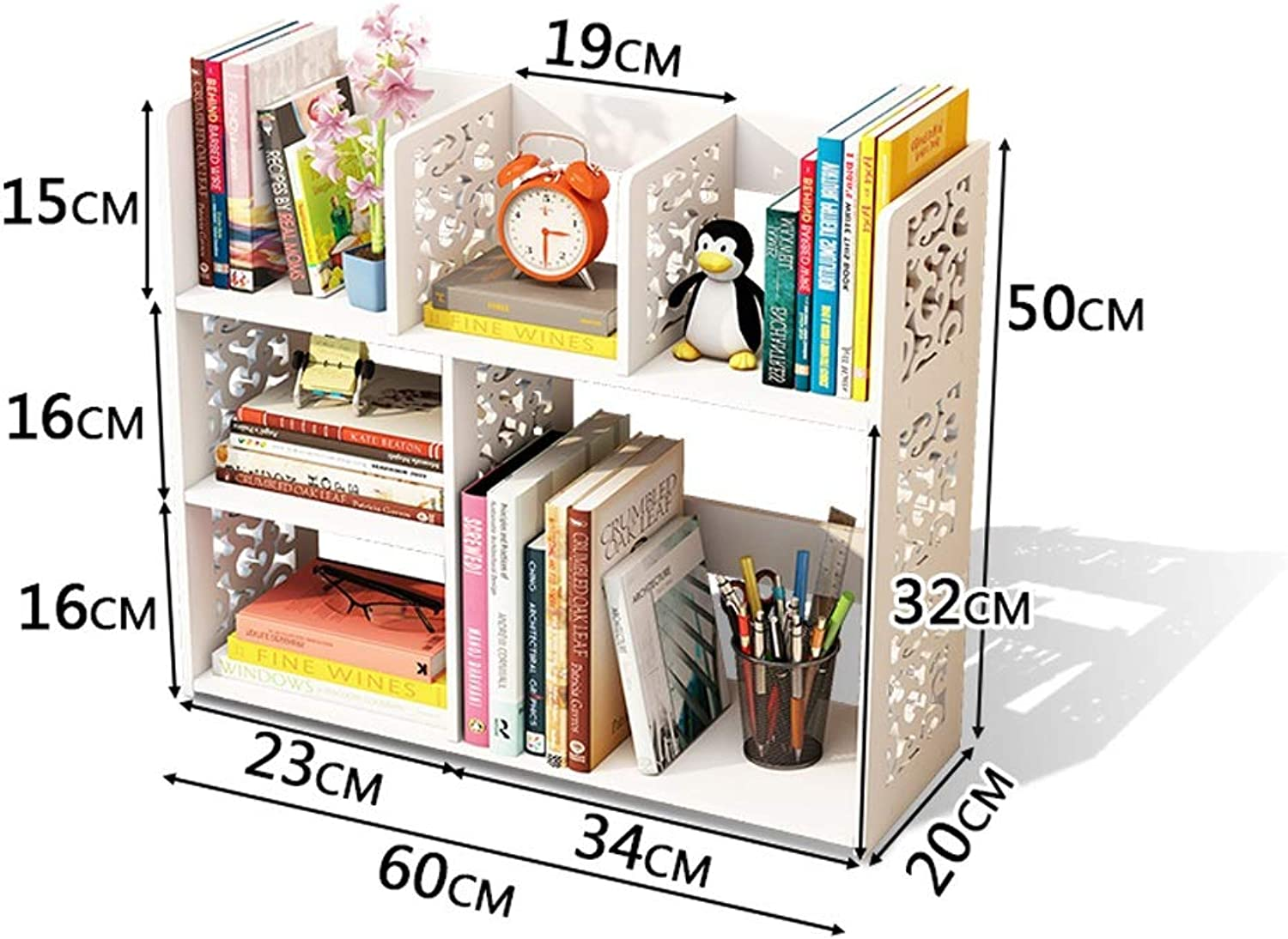 MING REN Bookshelf - Creative Simple Desktop Bookcase Living Room Bedroom Multi-Function Storage Rack (3 colors Available) Storage Shelf (color   White)