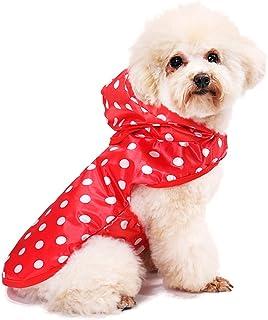Fashion Wave Point Rain Coat Jacket Pet Dog Puppy Waterproof Hooded Raincoat XS-XL (Rose Red)
