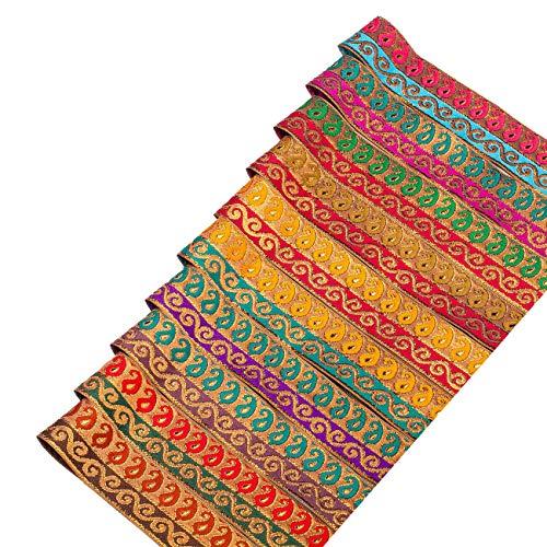 Ruban bande motif,vague,feuille,cachemire,Jacquard Neotrims,pour bordure vêtements traditionnel indien,sari,salwar kameez,artisanat,décoration.10 couleurs avec fils doré,or