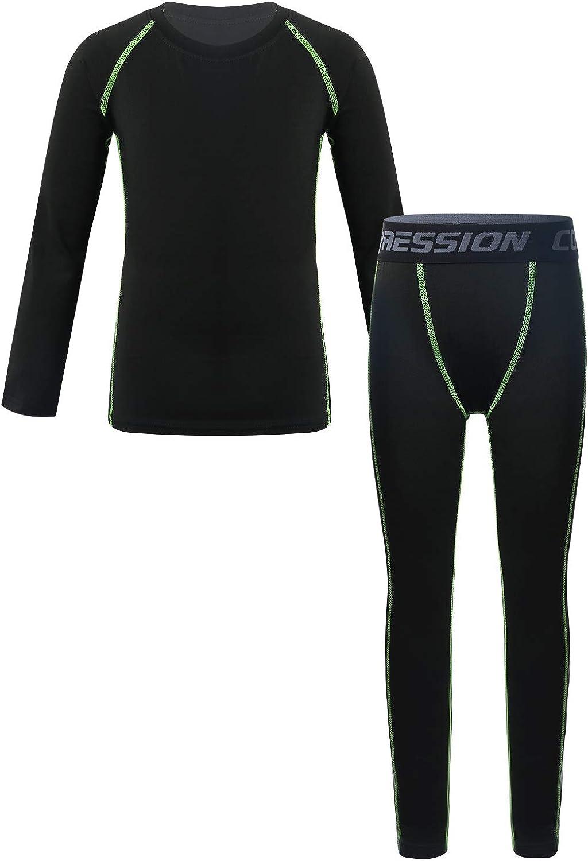 Mufeng Boy Girl Athletic Base Layer Compression Thermal Underwear Long Sleeve Shirt & Leggings Set Running Workout Set