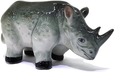 ZOOCRAFT Ceramic Rhino Figurine Wild Animal Hand Painted Porcelain Decor Collectible