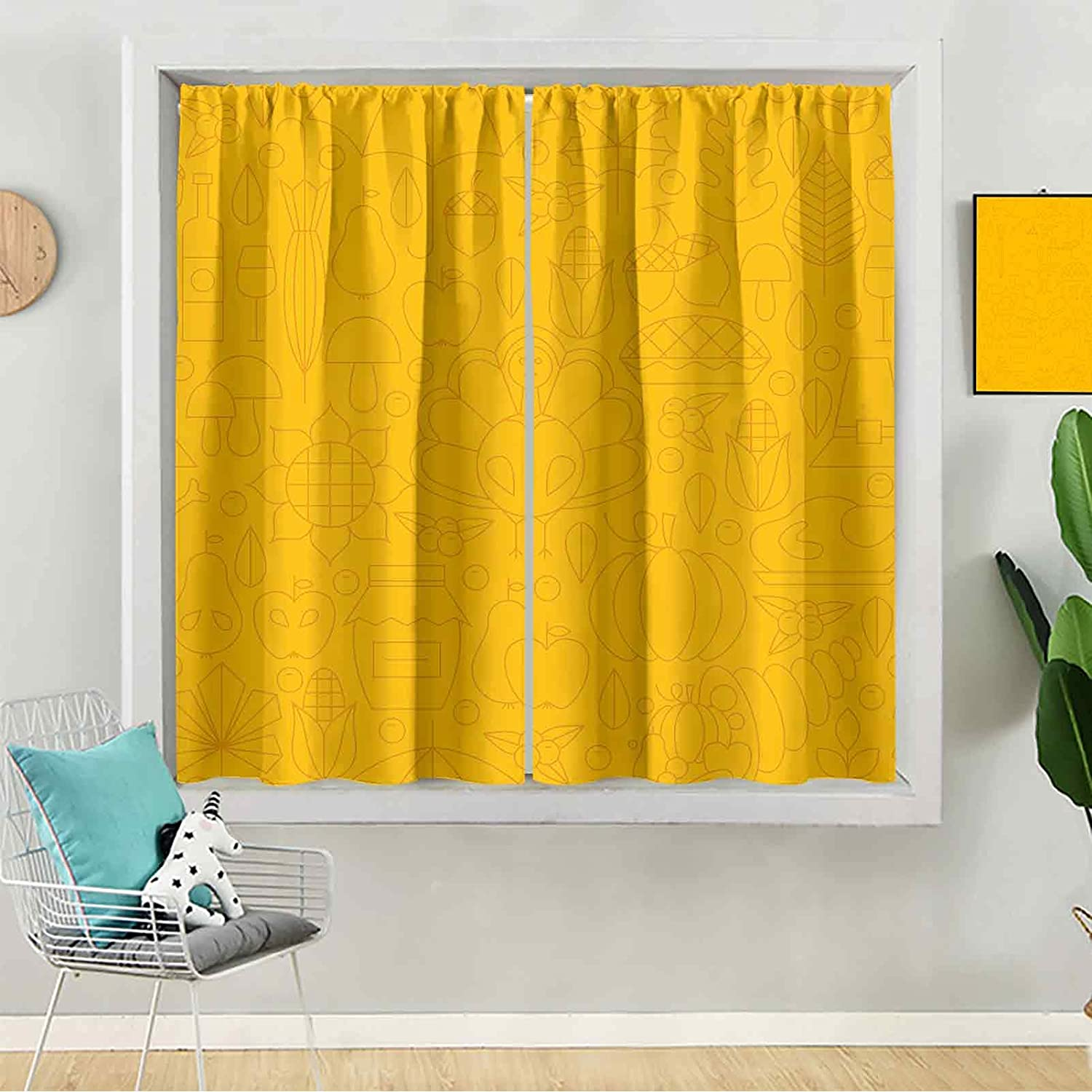 Blackout 5 ☆ popular Curtains Thin Cash special price Thanksgiving Holiday Dinner Line Seamles