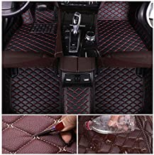 Custom Car Floor Mats for Dodge Charger 2014-2016 Leather Custom Fit All-Weather Protection Floor Liners Waterproof Foot Pad Carpets Black-red