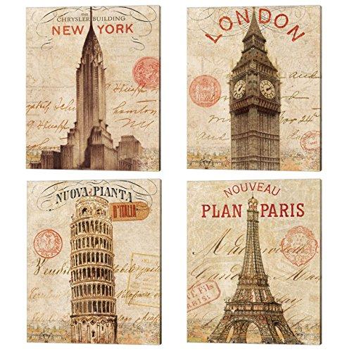 Letter from London, New York, Paris & Pisa by Wild Apple Portfolio, 4 Piece Canvas Art Set, 12 X 15 Inches Each, London Big Ben Art