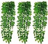 winkong 造花グリーン 24本入り フェイク 葉っぱ 人工観葉植物 ハート形状 フェイクグリーン 2パック