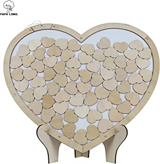PAPA LONG Drop Top Alternative Guest Book with Heart Shaped Wooden Frame for Wedding Include70pcs Wood Heart Cutouts Decor in 1.6inch Width