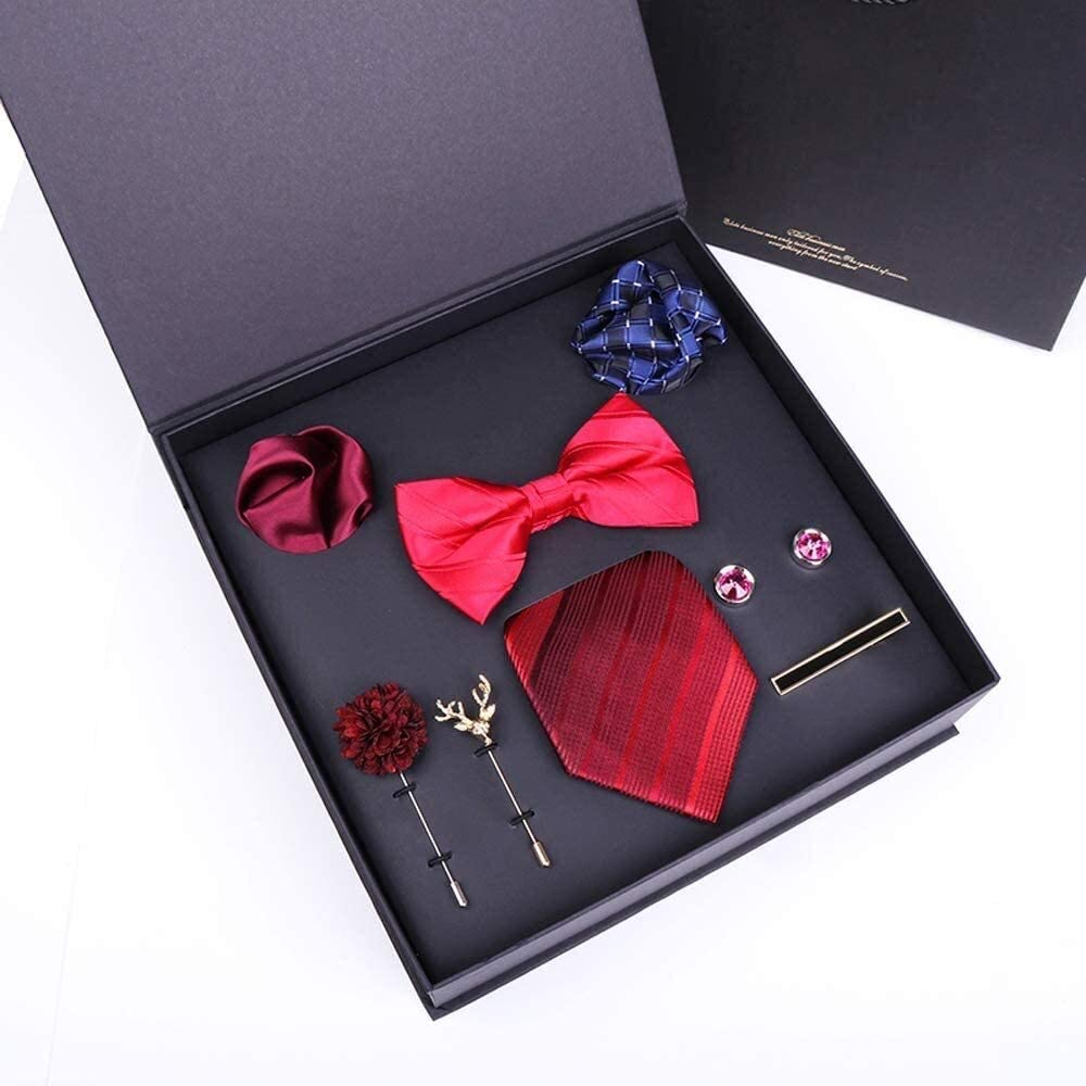 WYKDL Men's Tie Pocket Square & Lapel Pin Box Men Tie Necktie with Pocket Square Cufflinks Giftbox for Men 6.8Cm for Formal Wedding Business Party Set Gift Box Pack