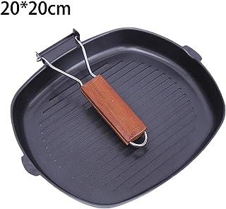 bouncevi -Home Parrilla Antiadherente Plancha Parrilla Cuadrada Parrilla 19cm Mango Plegable Adecuado para Todas Las Placas, incluida la inducción Nice