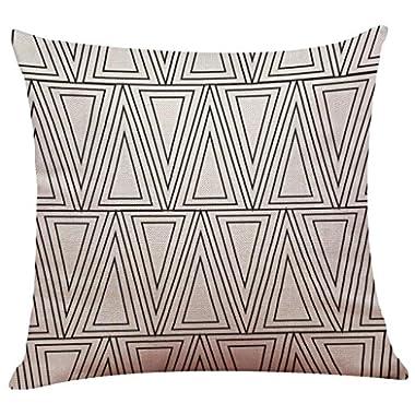 Pillow Case Cotton Linen Cushion Cover Vintage Black & White Couch Throw Pillow Case Sofa Home Decor Patio Pillow Cover, Hidden Zipper Closure (E)