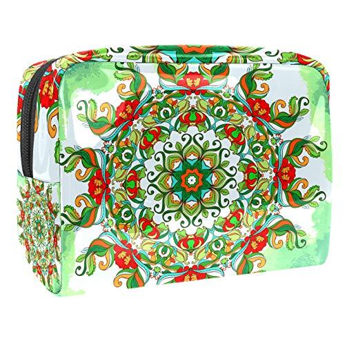 Bolso de Cosméticos Flor Mandala Verde Neceser de Viaje para Mujer y Niñas Organizador de Bolso Cosmético Accesorios de Viaje Estuche de Maquillaje 18.5x7.5x13cm