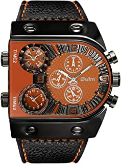 Oulm Man's Fashion Watch with 3 Quartz Movement Dial Leather Band orange CH164
