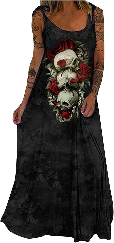 GOODTRADE8 Dresses Maxi Dress Summer Dress Sundress Women Casual Sleeveless U-Neck Printing Bandage Floor-Length Dress