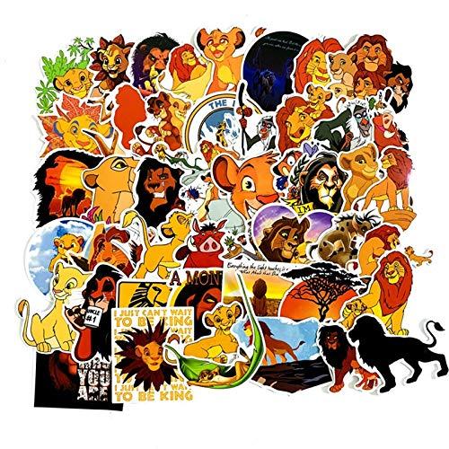 FENGLING Pegatinas de Dibujos Animados Impermeables del Rey León Pegatinas de Juguete Equipaje Guitarra Personalidad Graffiti Pegatina 50 Piezas