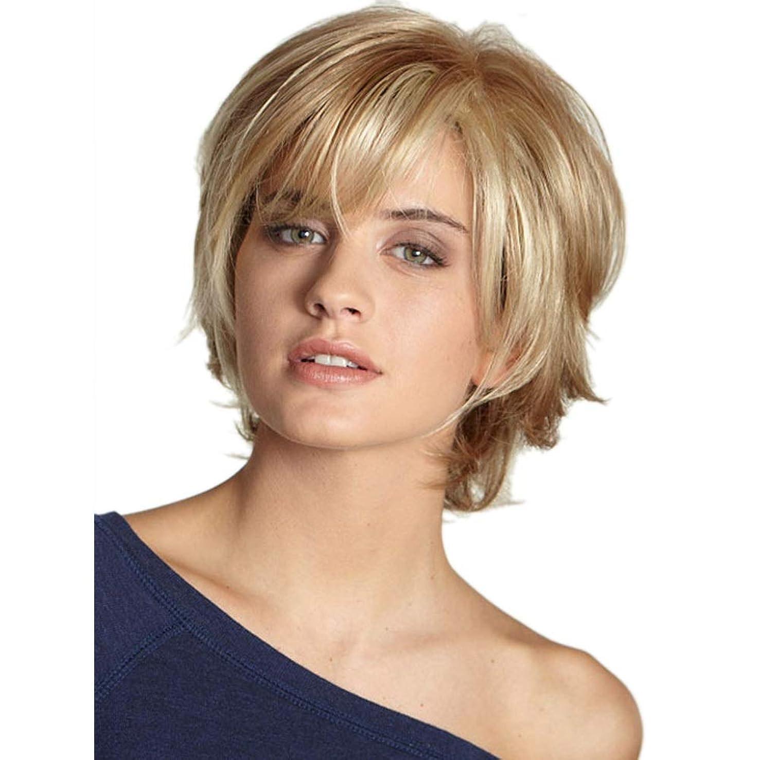 発行する物足りないメキシコWASAIO 女性ショートカーリーヘアーフルウィッグ (色 : Blonde)
