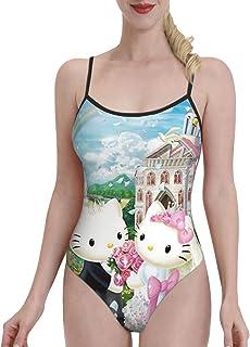 Cartoon Hello Kitty Traje de baño de una pieza para mujer con control de barriga, traje de baño de verano bajo U espalda b...