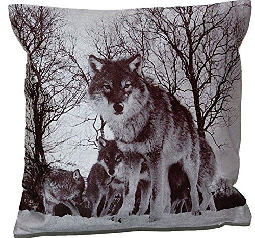 Kissenhüllen weiche 40x40 cm Wolf Kurzvelours Polyester Dekokissen Kissenbezug Weihnachten Trend Fotoprint Kissen