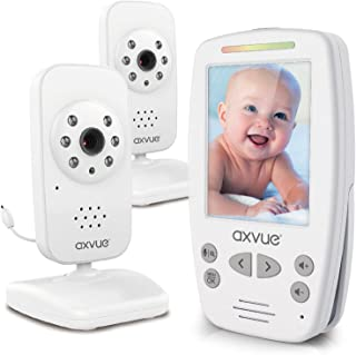 """AXVUE E662 Video Baby Monitor with Two Cameras and 2.8"""" LCD Night Vision Night Light Temperature Detection 2-Way Talk VOX ..."""