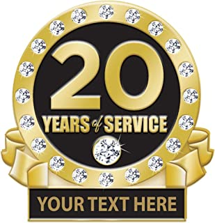 20 Years of Service Pin, 20 Years Award Pin with Rhinestones, Engraving Included Prime