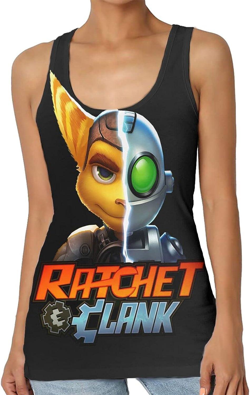 Ratchet & Clank Women's Vest, Sexy Sleeveless Racer Back, Short Sports Top.