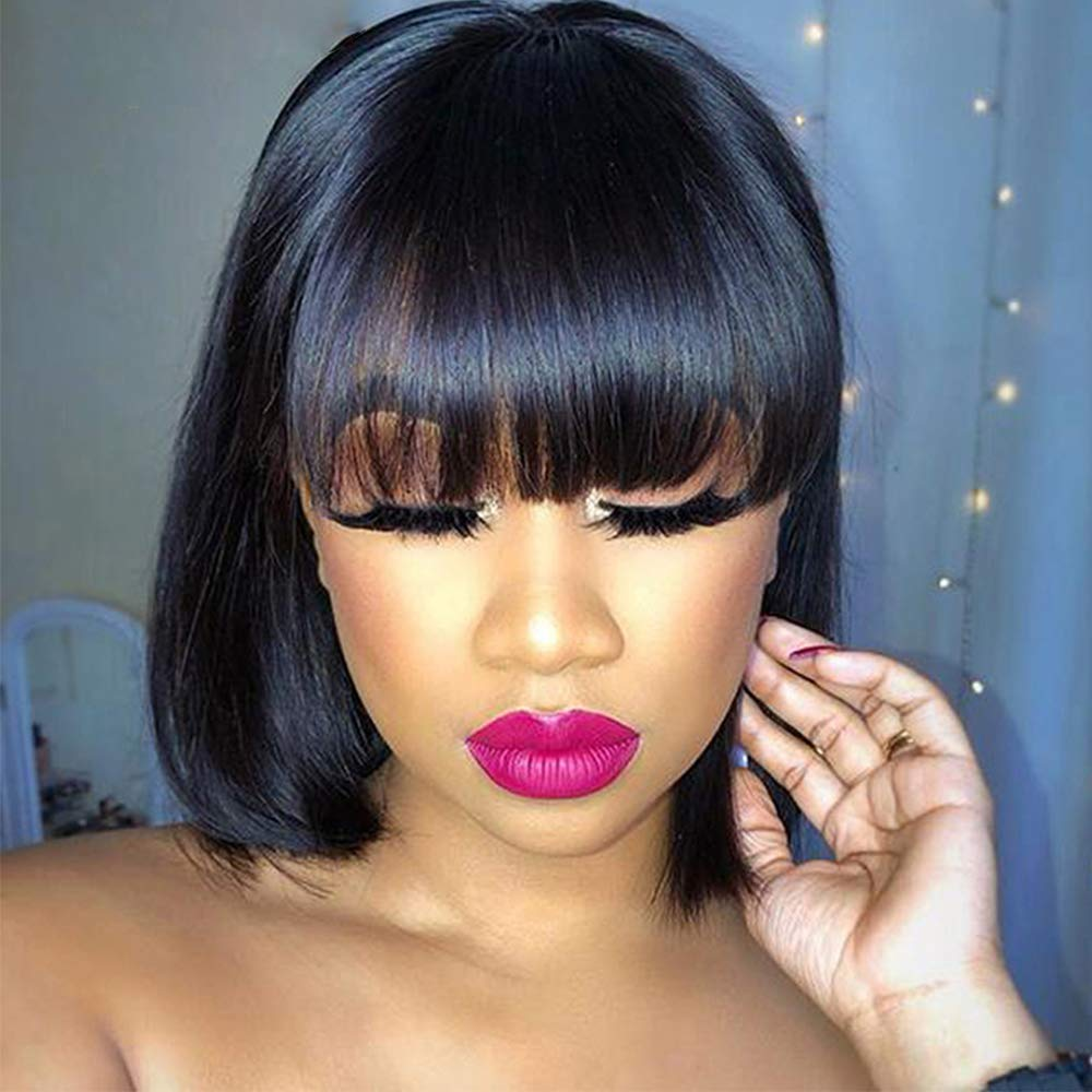 AS 100% quality warranty Short Bob Human Max 63% OFF Hair Wigs Glueles Unprocessed with Bangs