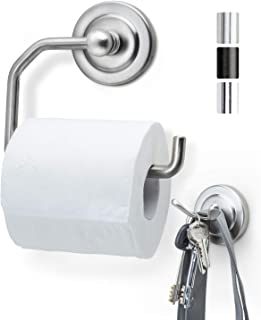 JD Jack N'Drill 1 Pack Nickel Finish Toilet Paper Holder with Free Wall Towel Hook | Open Arm European Style Wall Mounted ...