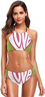 K0k2t0 Women's Printing High Neck Halter Two Piece Bikini Swimsuits,Heart On Paisley Background Centre of Love Valentines Nutrient Retro Design XXL