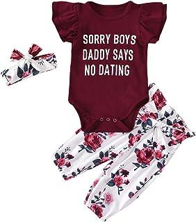 Eghunooye Neugeborenes Baby Mädchen Rosa Kleidung Outfits Sorry Boys Daddy SAYS NO Dating Print Kurzarm Strampler Leopard Hosen mit Stirnband Mode 3Stücke Kleidung Set