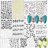 FLOFIA Nagelsticker Selbstklebend Nagelaufkleber Spitze Nail Art Tipp Sticker Fingernägel Tattoo 3D Design Maniküre Decals Abziehbild DIY Dekoration Schwarz Weiß Gold (C)