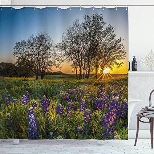 """Ambesonne Nature Shower Curtain, Country Scenery with Lavender Meadow at Sunset Spring Beauty Foliage Eco Picture, Cloth Fabric Bathroom Decor Set with Hooks, 75"""" Long, Lavender Green"""