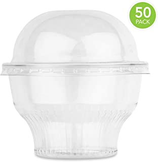 Clear Plastic Cups with Lids (50 Count) Dessert Cups with Lids - Plastic Fruit Cups - Mini Snack Bowls and Dome Lids without Hole, 8 Ounce