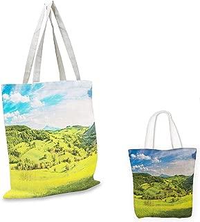 small clear shopping bag Tuscany Tuscany Italy Sunlight Homestead Plantation Farms Pathway Greenery Print Sky Blue Apple Green foldable shopping bag